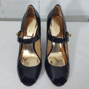 Coach Shoes - Coach Patent Leather Peep Toe Wedges